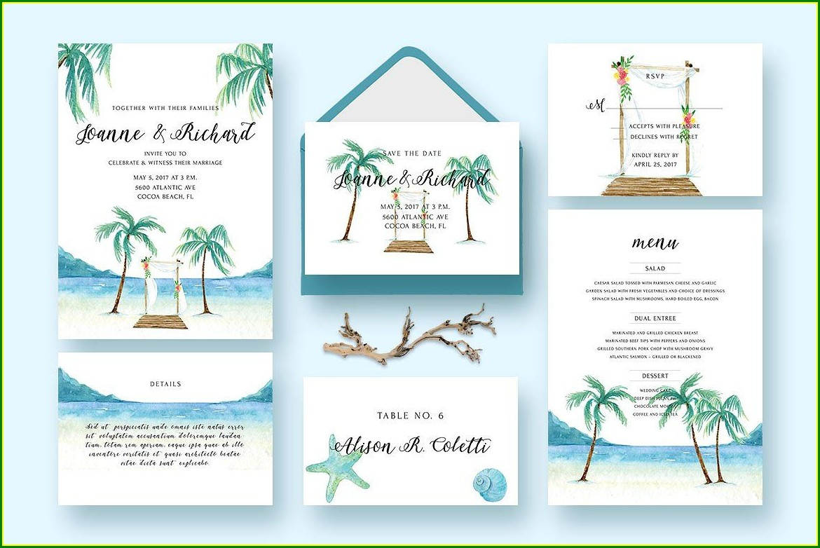 Beach Wedding Invitation Kits