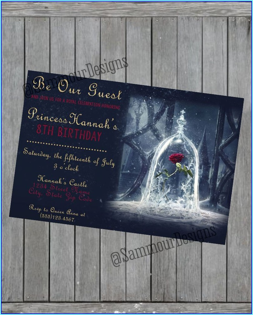 Beauty And The Beast Personalized Invitations