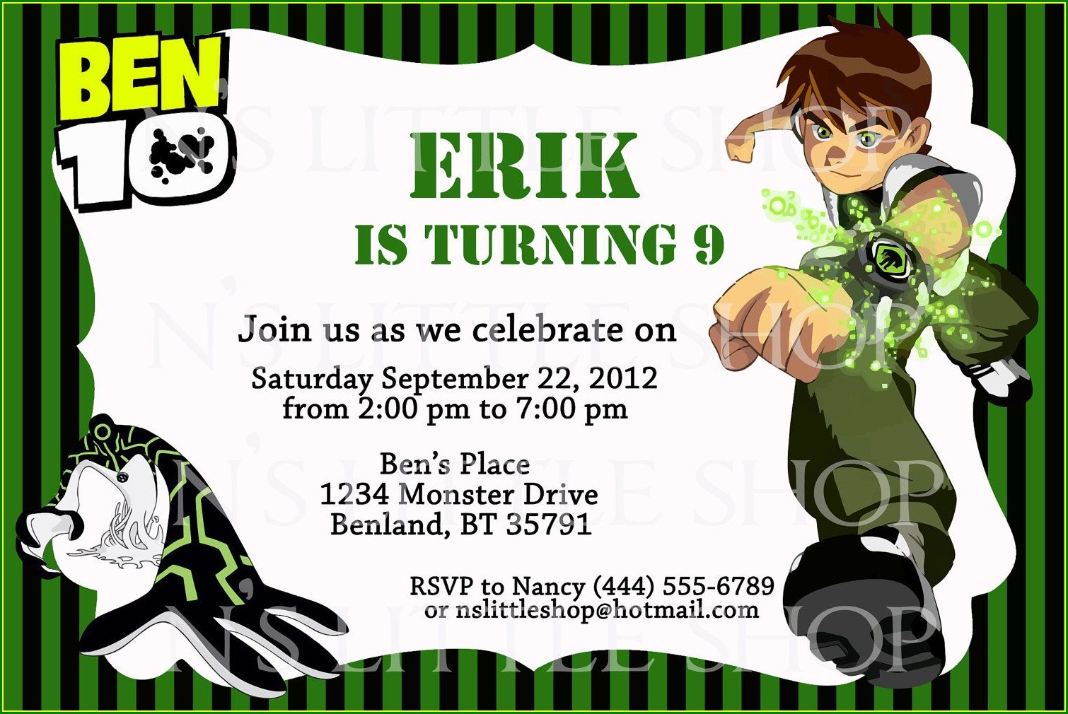 Ben 10 Birthday Invitation Template Free