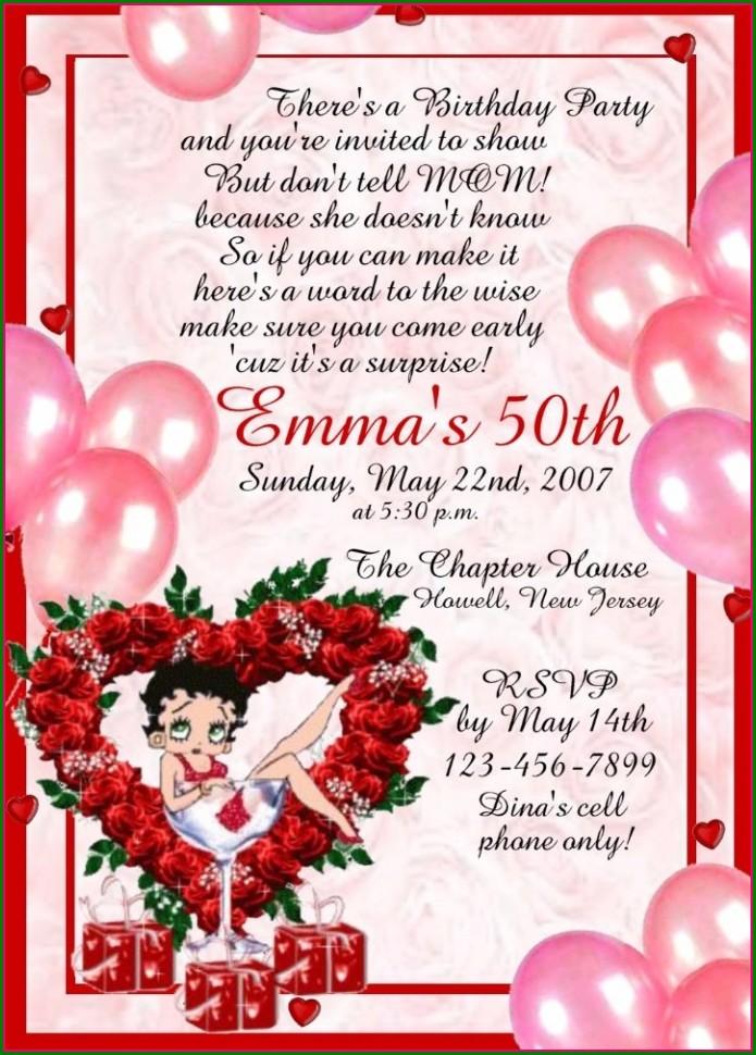 Betty Boop Birthday Invitations