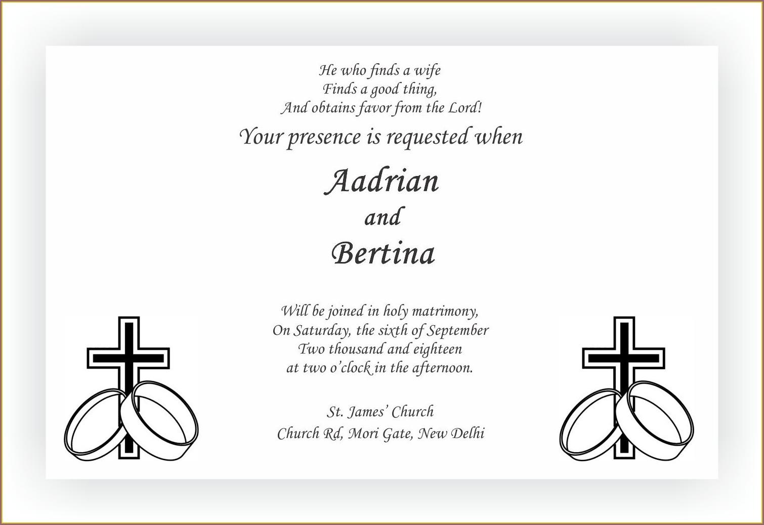 Bible Verse Kerala Christian Wedding Invitation Wording