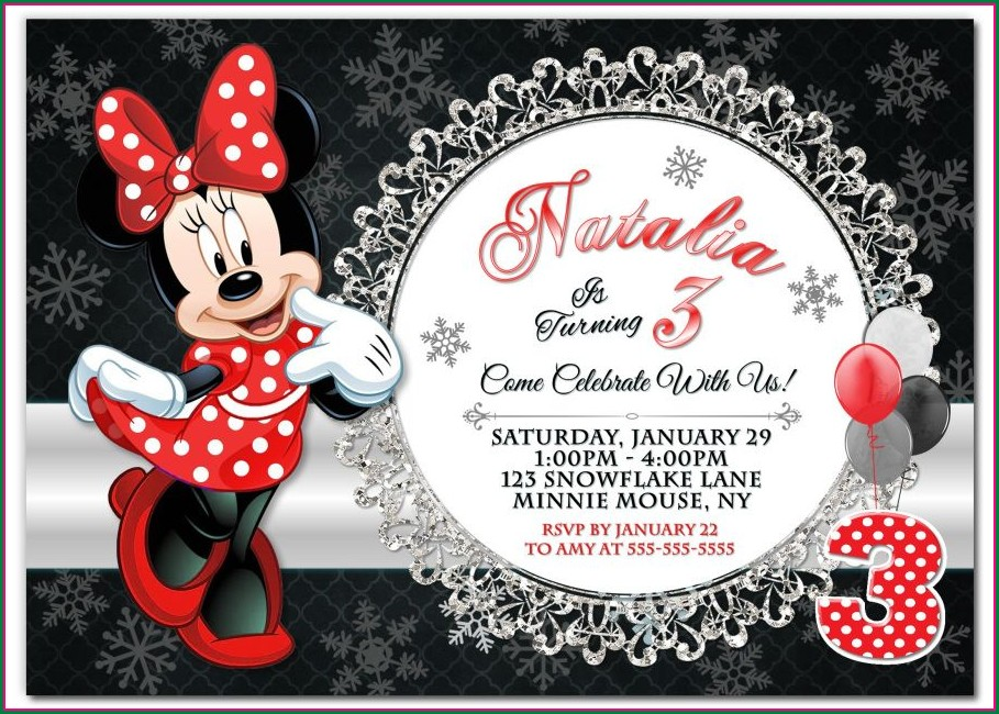 Birthday Invitation Background Minnie Mouse