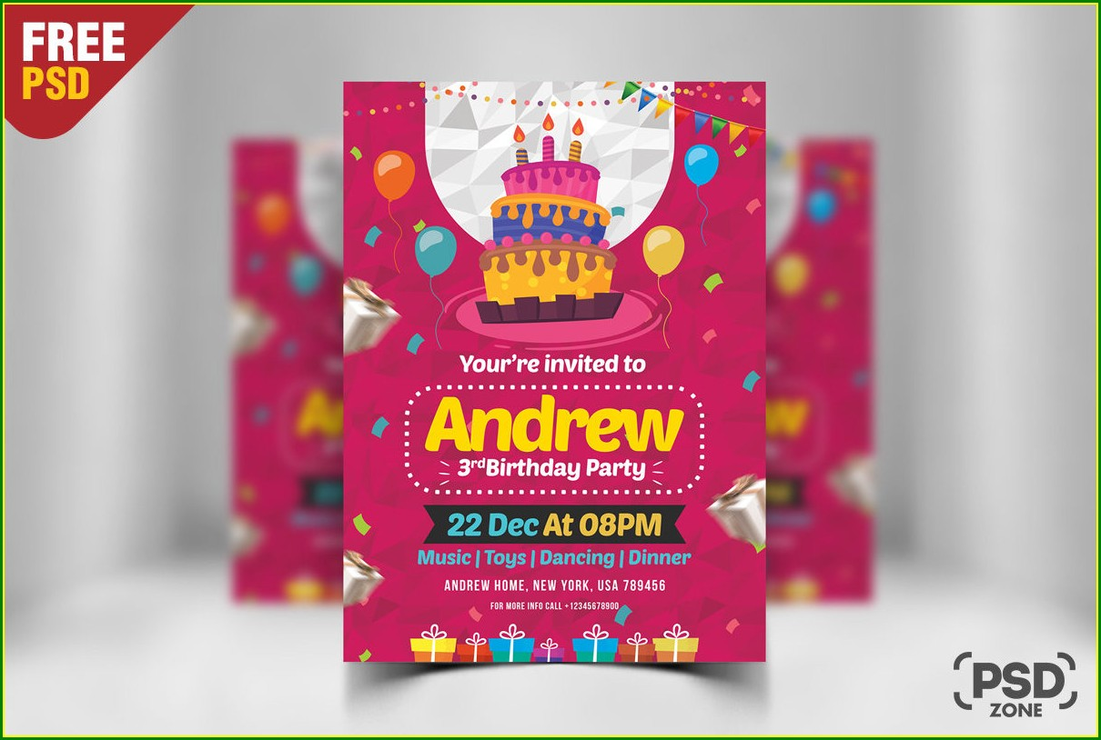 Birthday Invitation Card Download Free