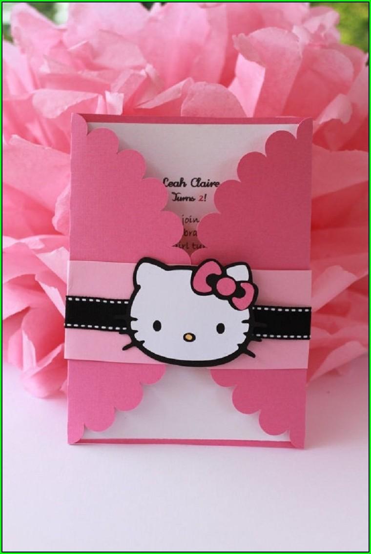 Birthday Invitation Card Hello Kitty Design