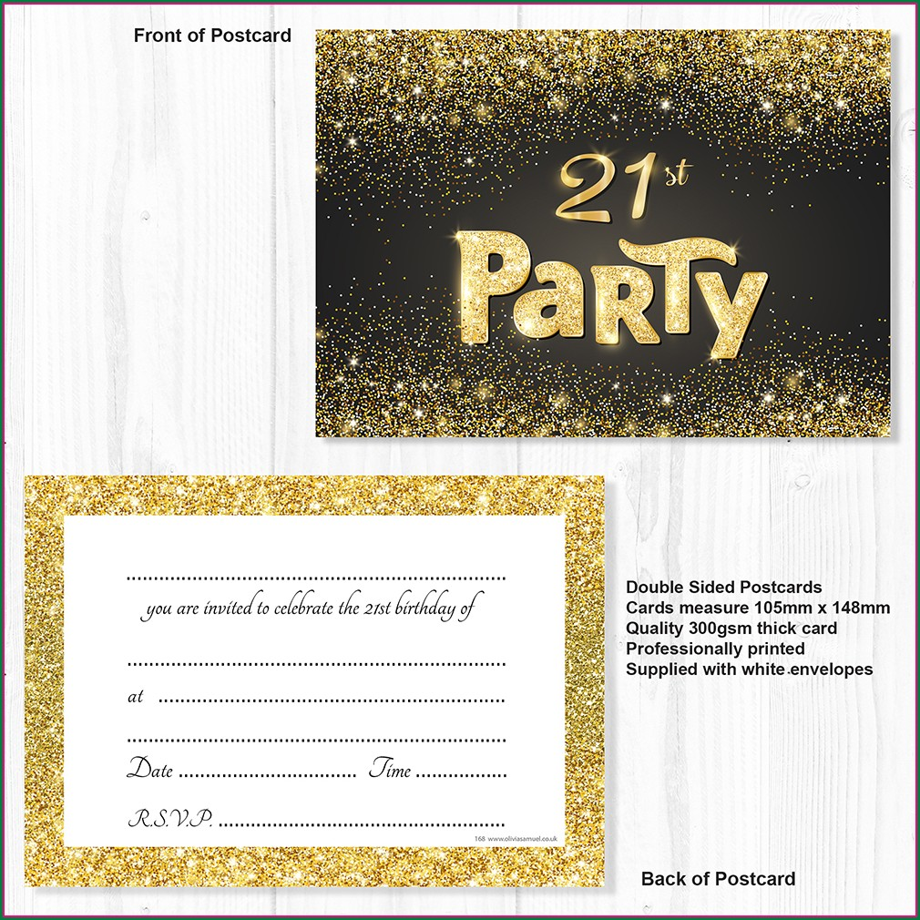 Black And Gold 21st Birthday Invitations