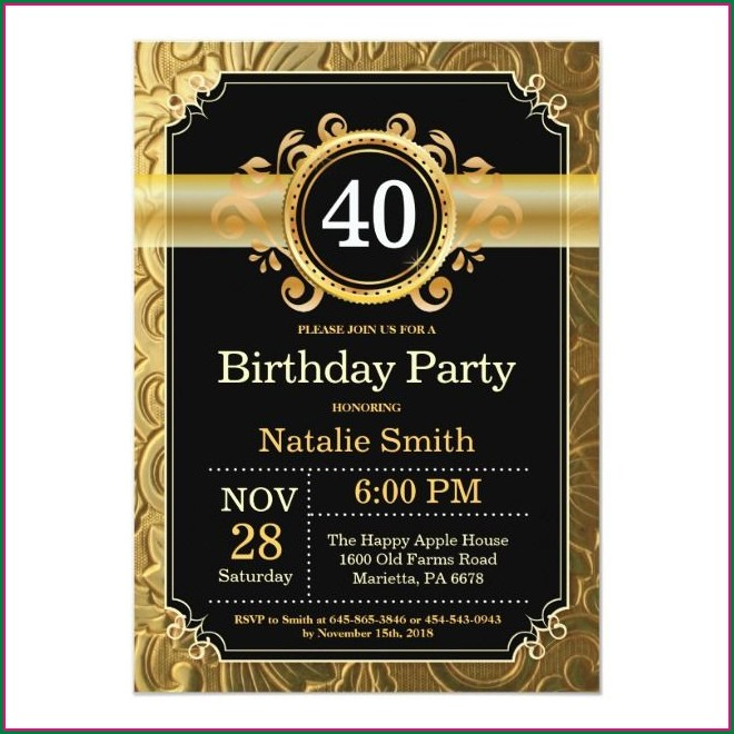 Black And Gold 40th Birthday Invitations