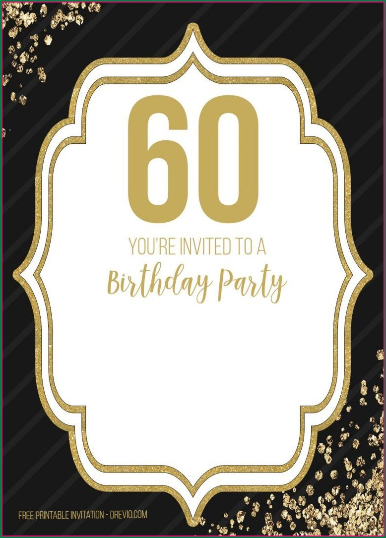 Black And Gold 60th Birthday Invitations