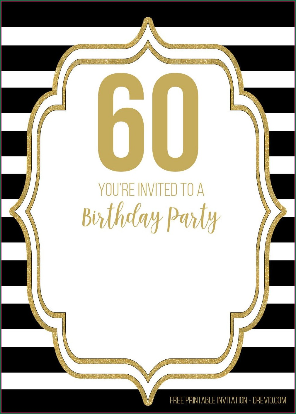 Black And Gold Birthday Invitations Free