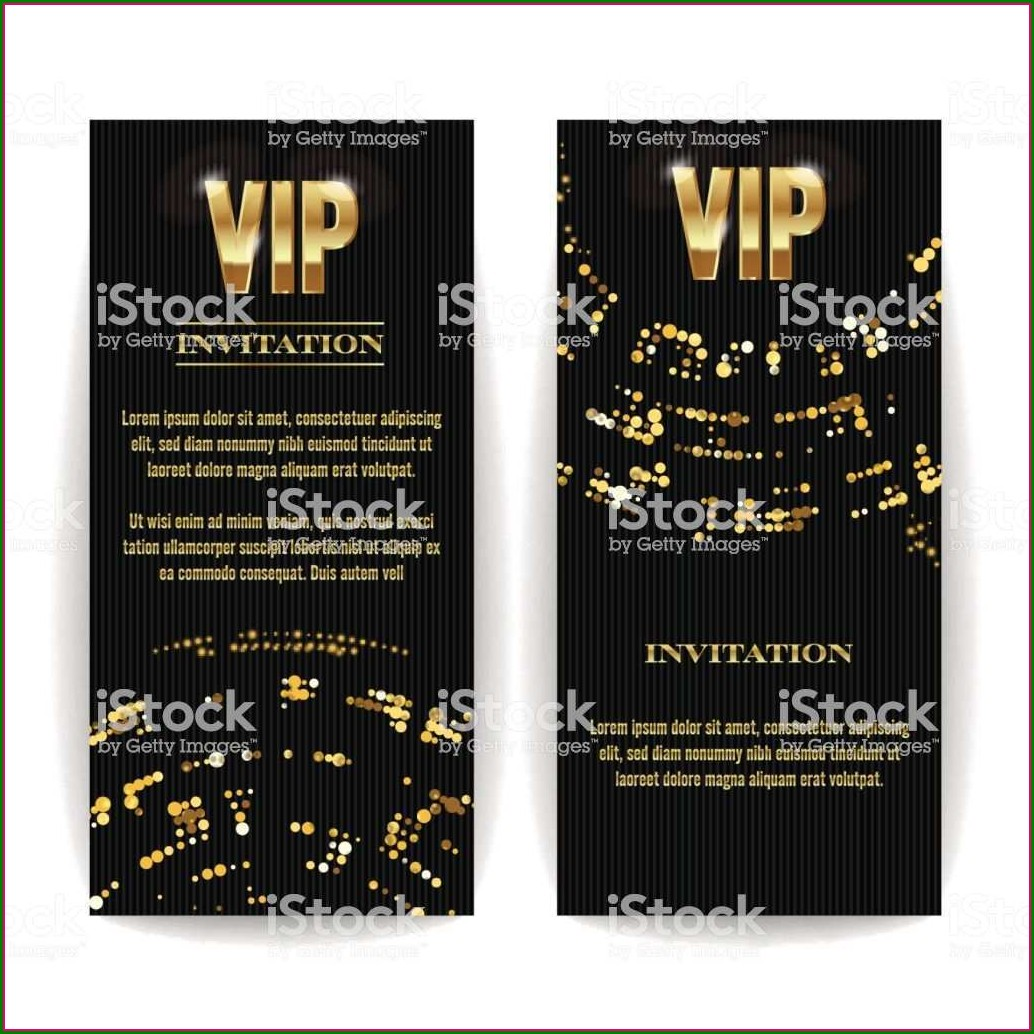 Black And Gold Blank Invitation Templates