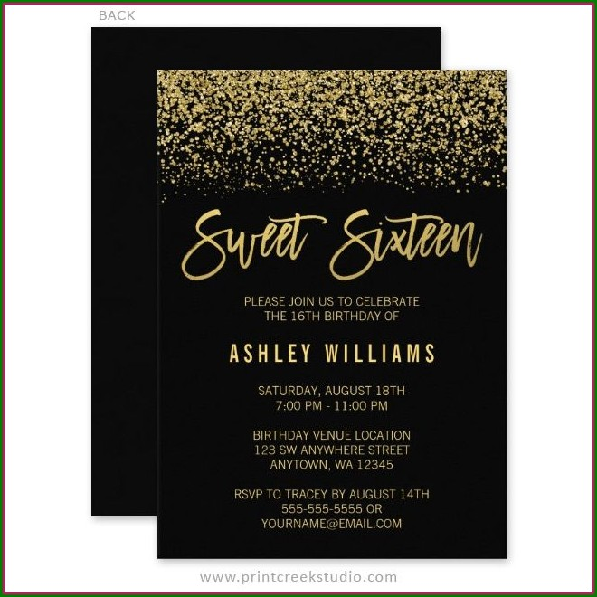 Black And Gold Sweet 16 Invitations