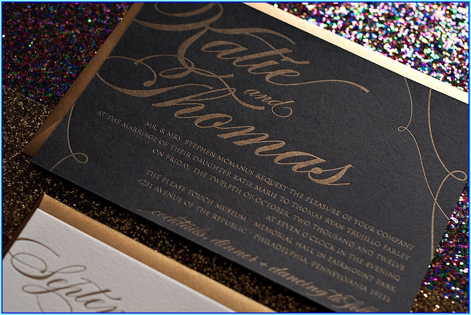 Black And Gold Wedding Invitation Kit
