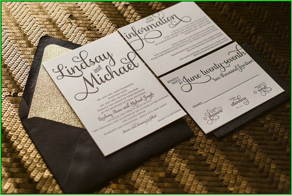 Black And Gold Wedding Invitations Cheap