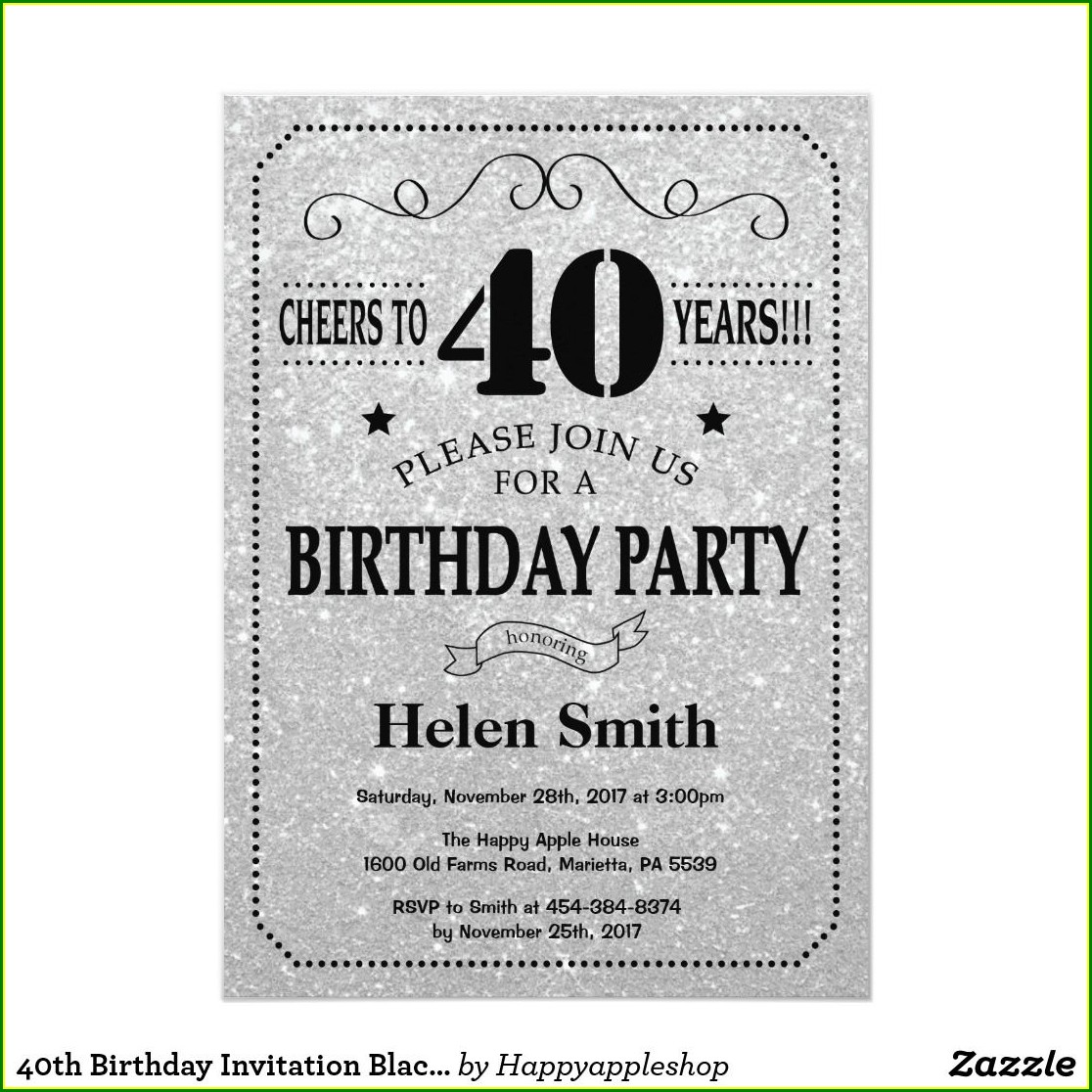 Black And Silver 40th Birthday Invitations