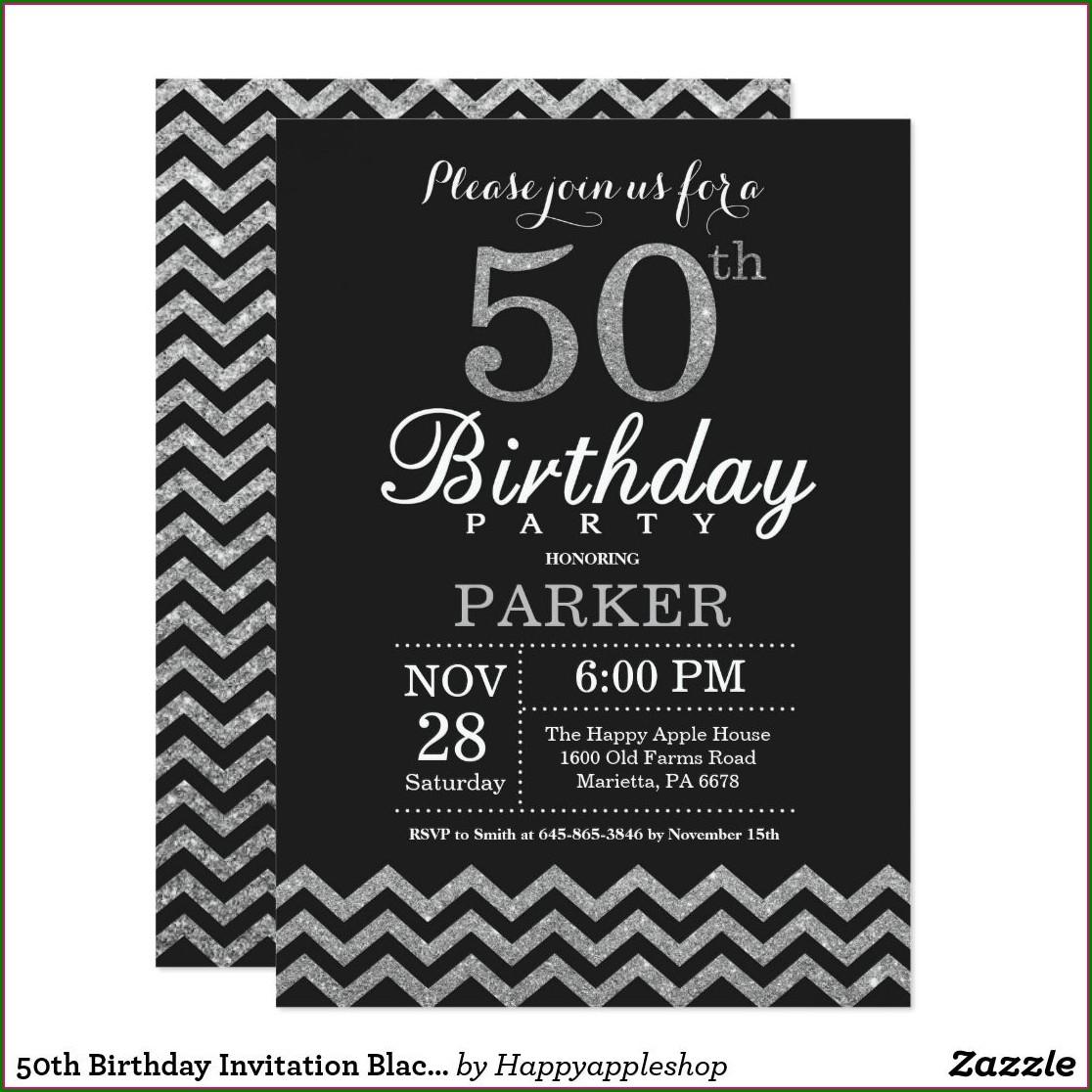Black And Silver 50th Birthday Invitations