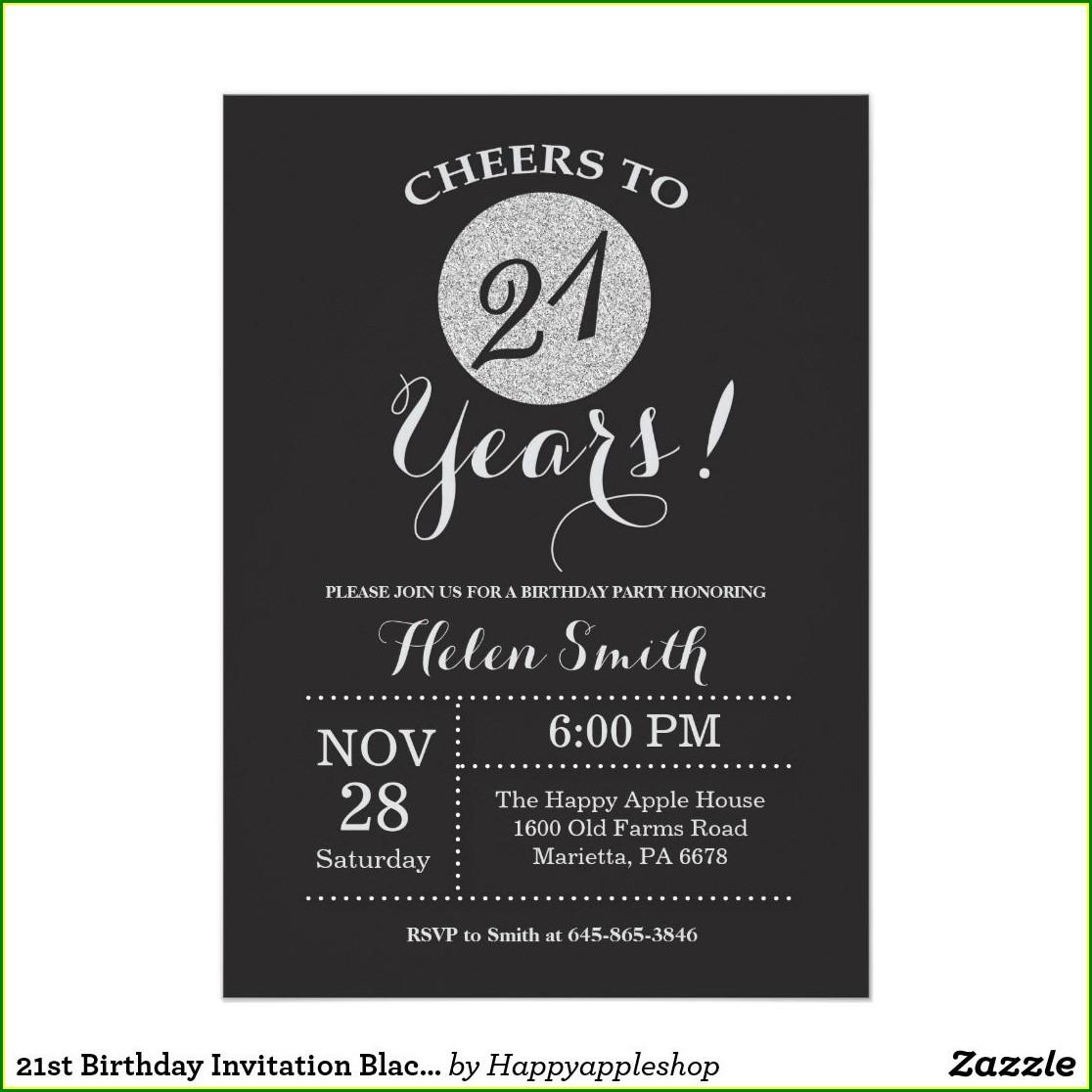 Black And Silver Birthday Invitations