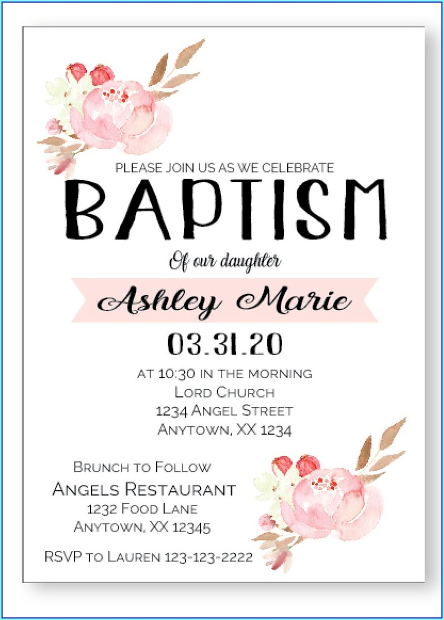 Black And White Baptism Invitations