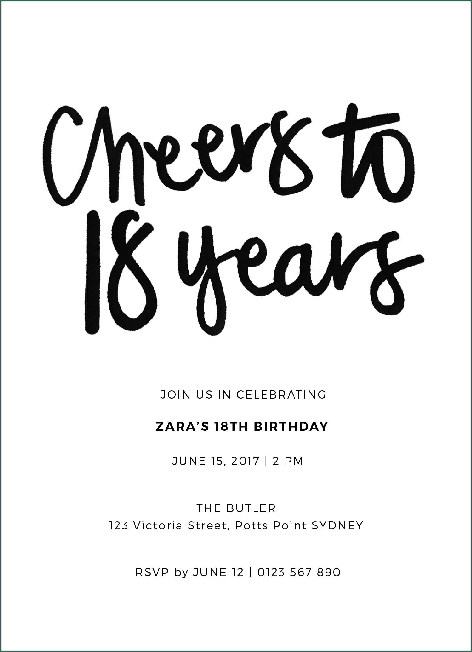 Black And White Birthday Invitations