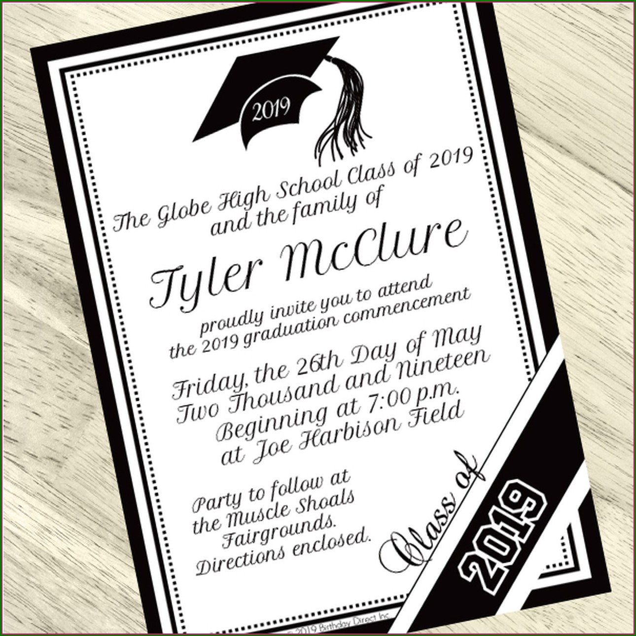 Black And White Graduation Invitations