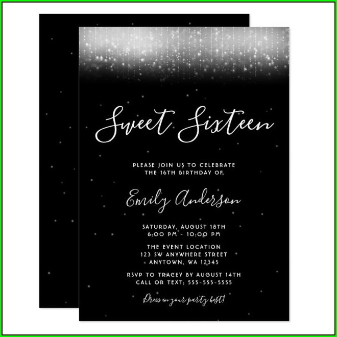 Black And White Quinceanera Invitations