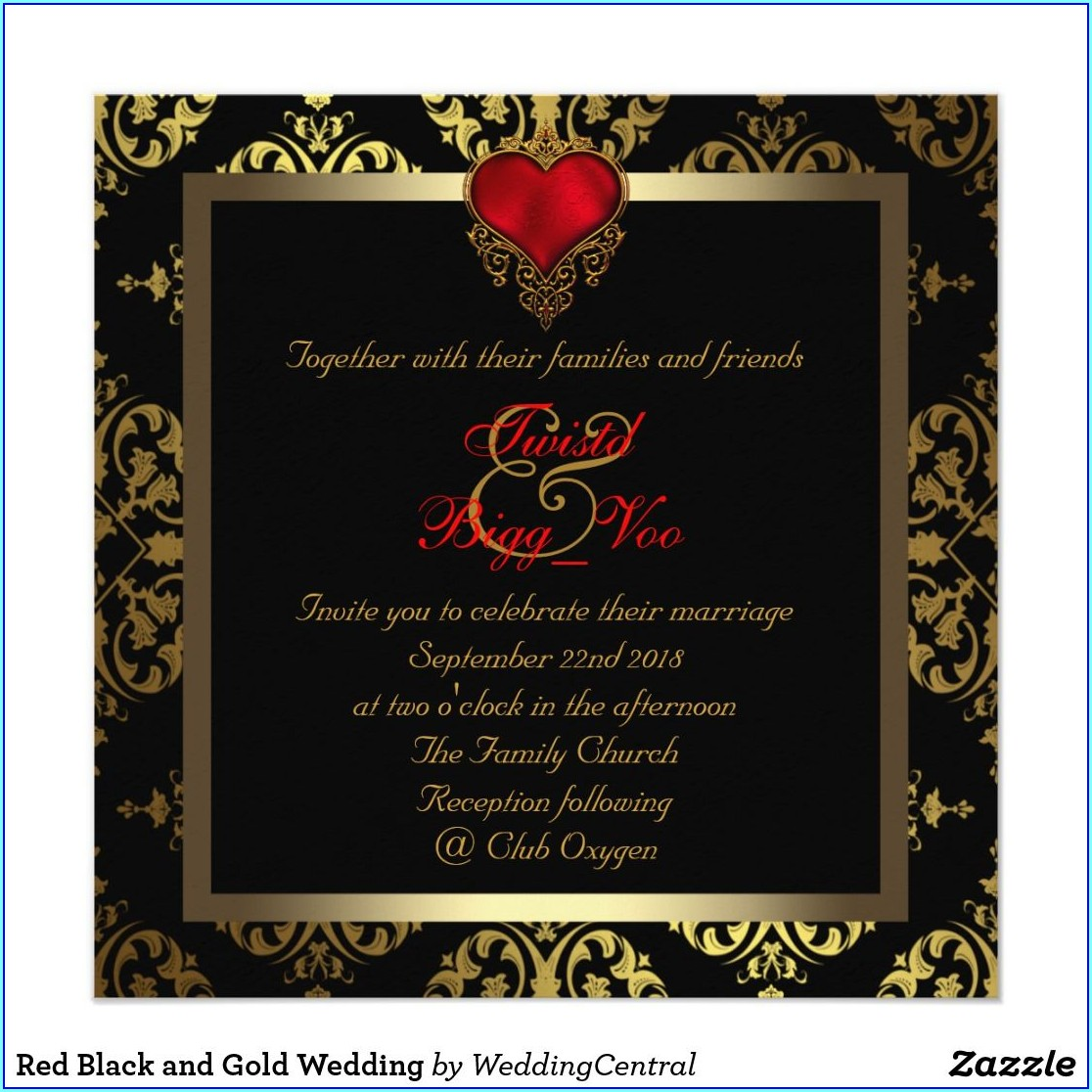 Black Gold And Red Invitations