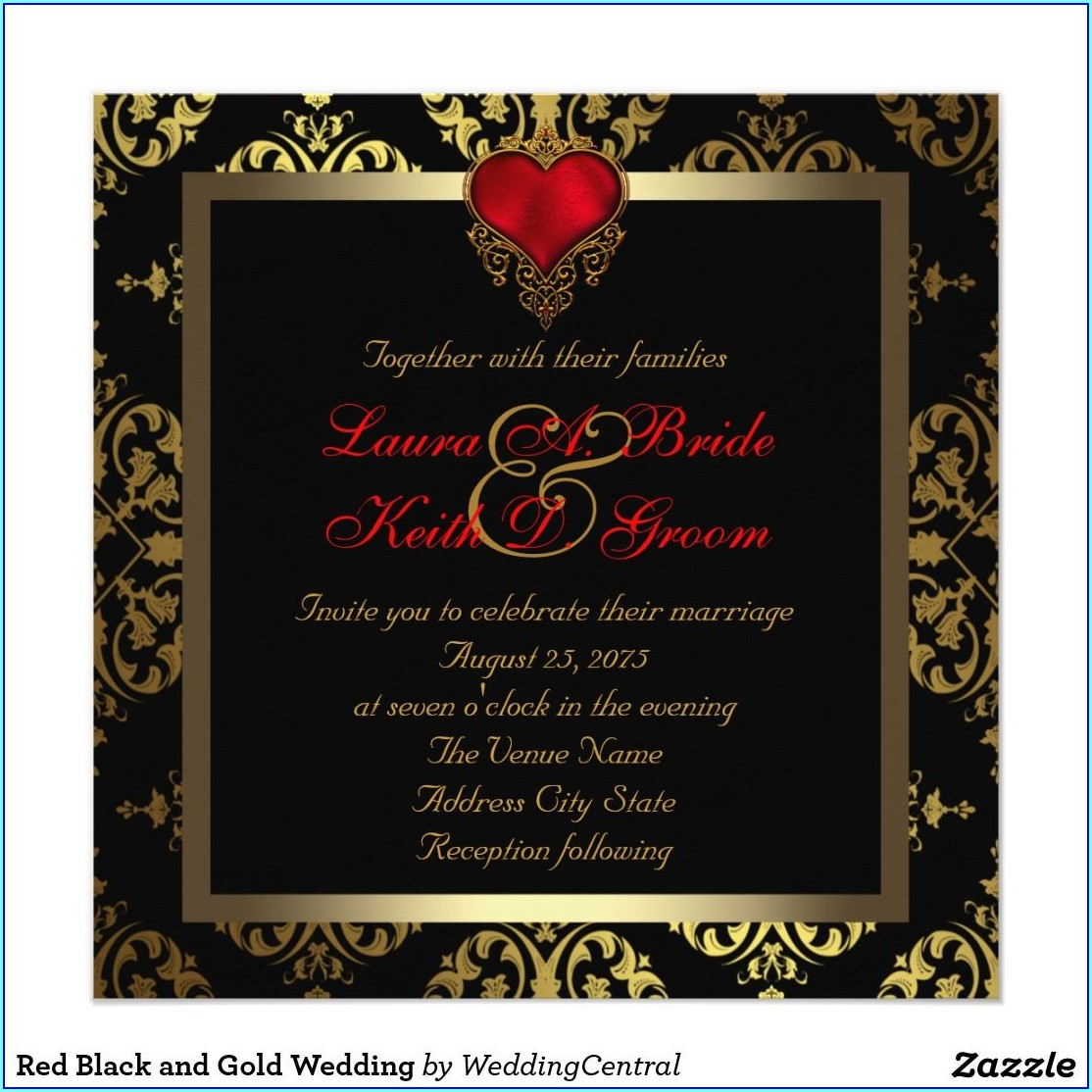 Black Gold And Red Wedding Invitations