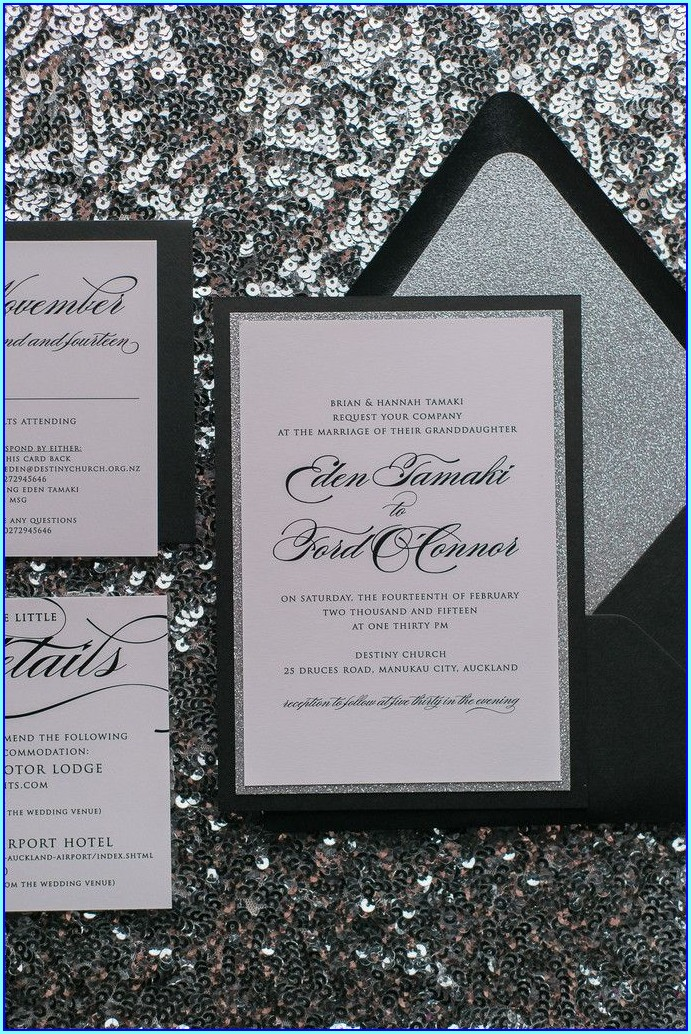 Black Silver And White Wedding Invitations