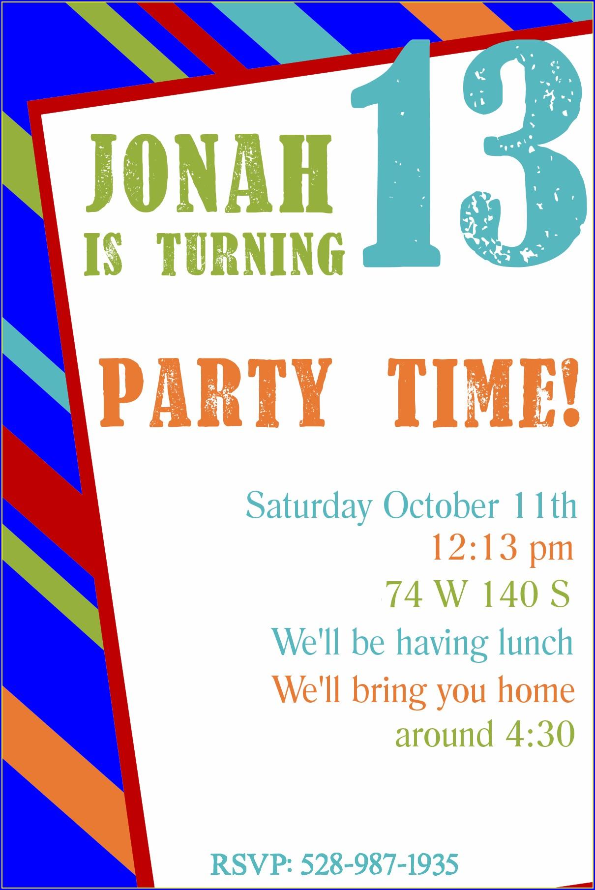 Blank 14th Birthday Invitation Templates