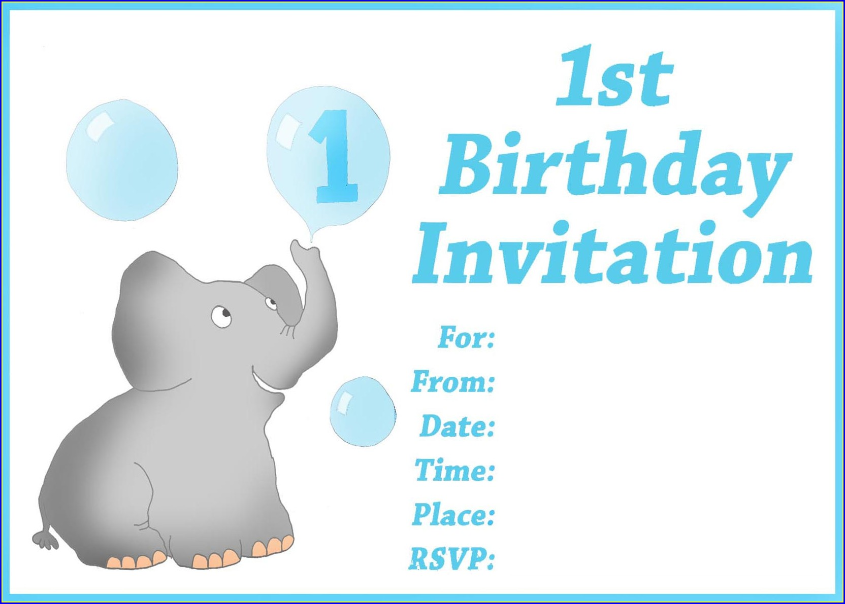 Blank 1st Birthday Invitation Card Design