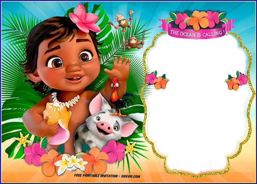 Blank Baby Moana Birthday Invitation Template