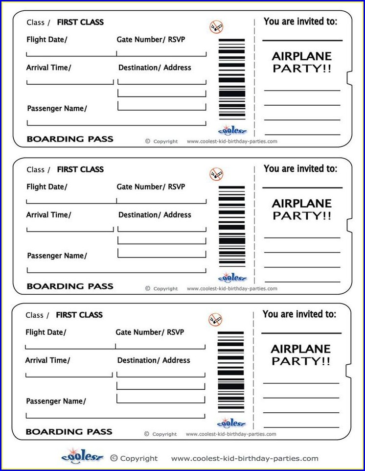 Blank Boarding Pass Invitation Template Free
