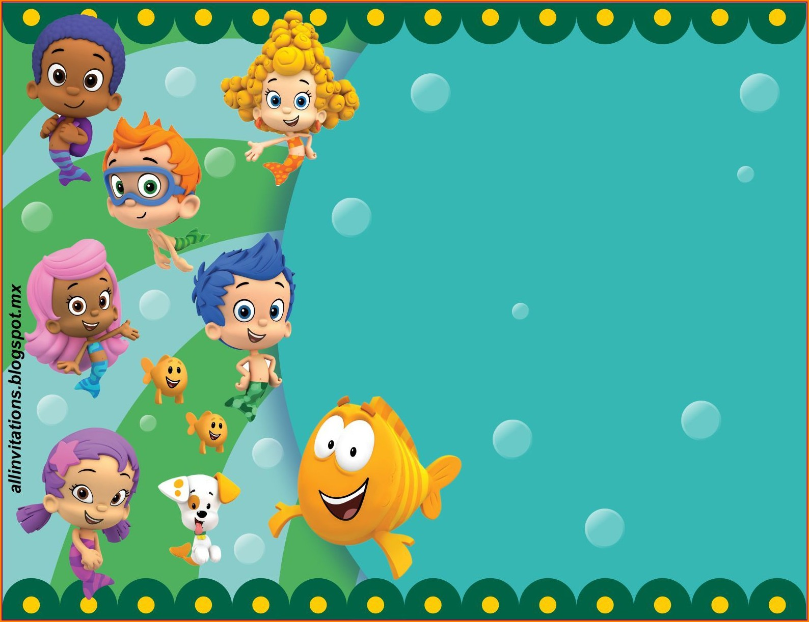 Blank Bubble Guppies Birthday Invitation Template Free