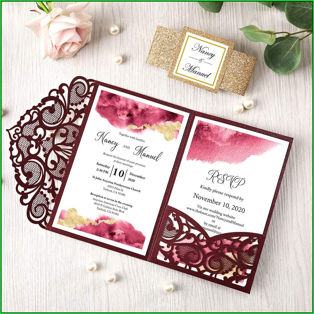 Blank Burgundy And Gold Wedding Invitations