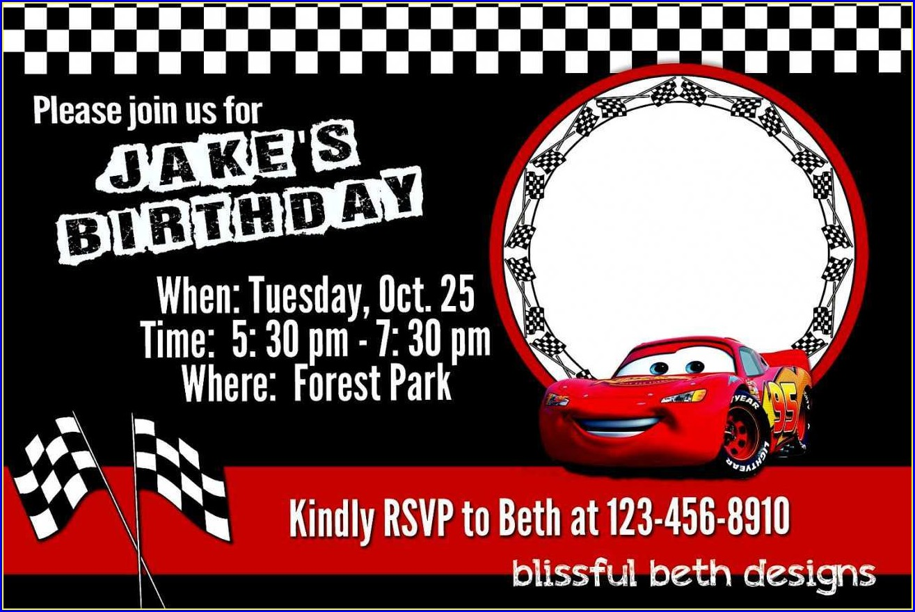 Blank Cars Invitation Template