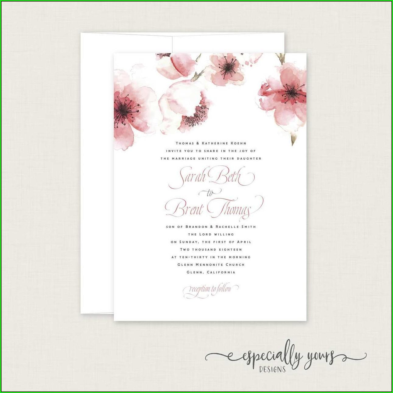 Blank Cherry Blossom Invitation Template Free