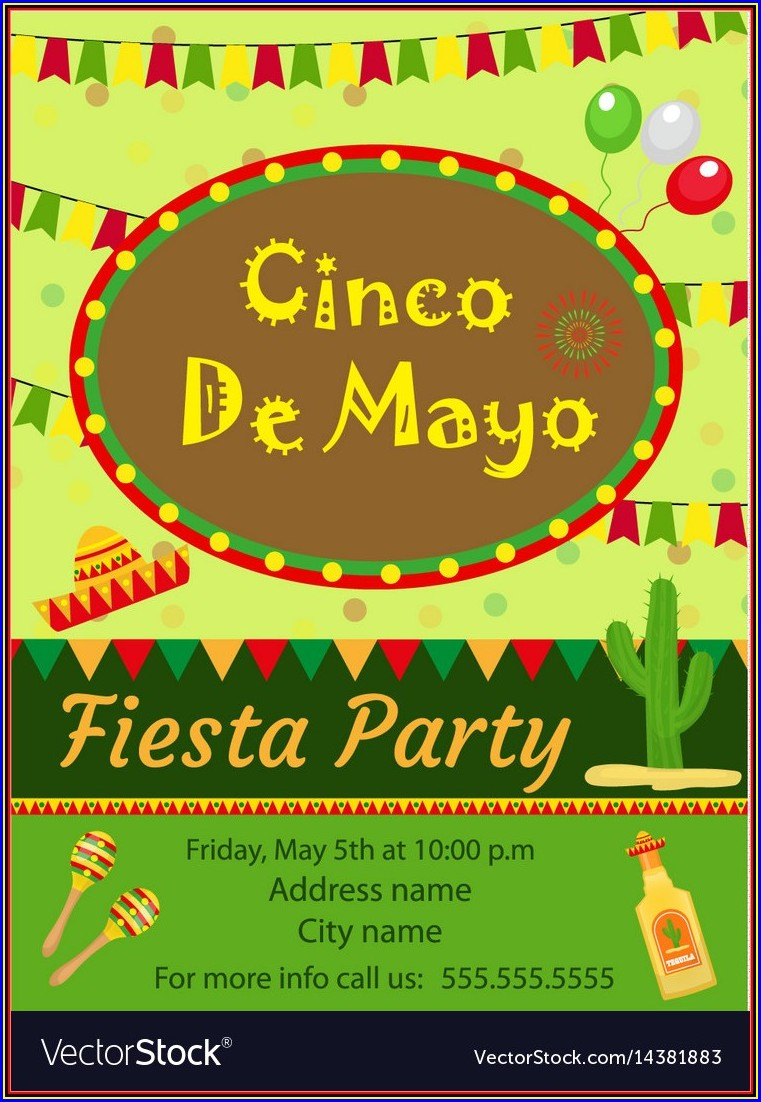 Blank Cinco De Mayo Invitation Template Free