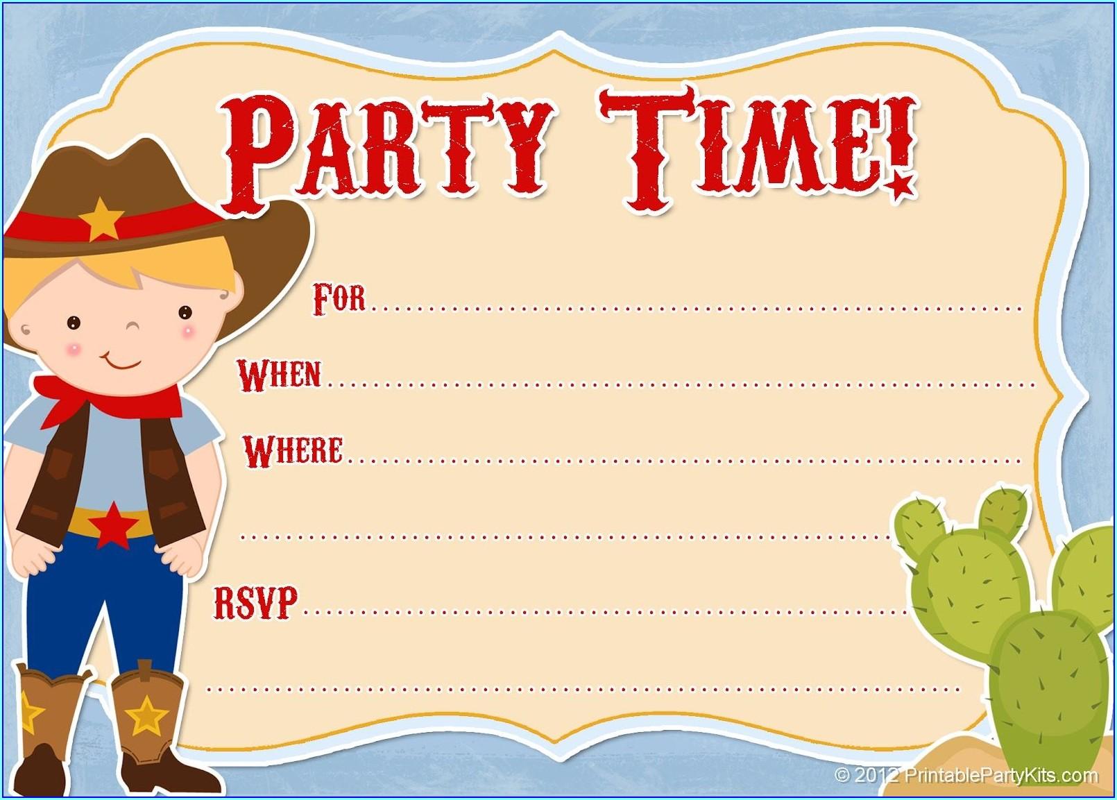 Blank Cowboy Invitation Template