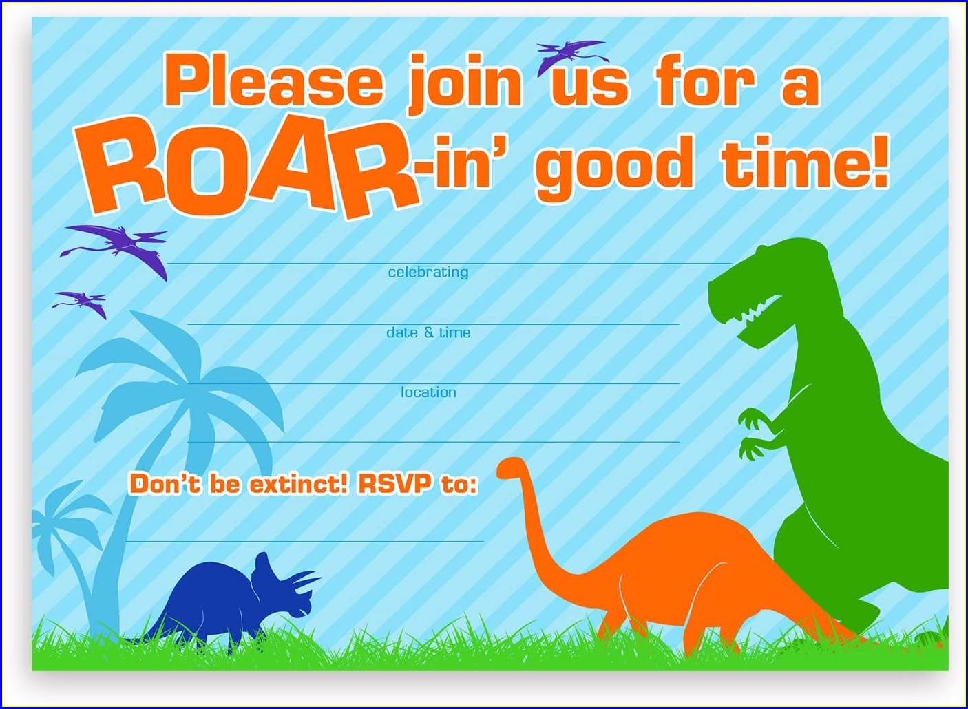 Blank Dinosaur Invitation Template Free