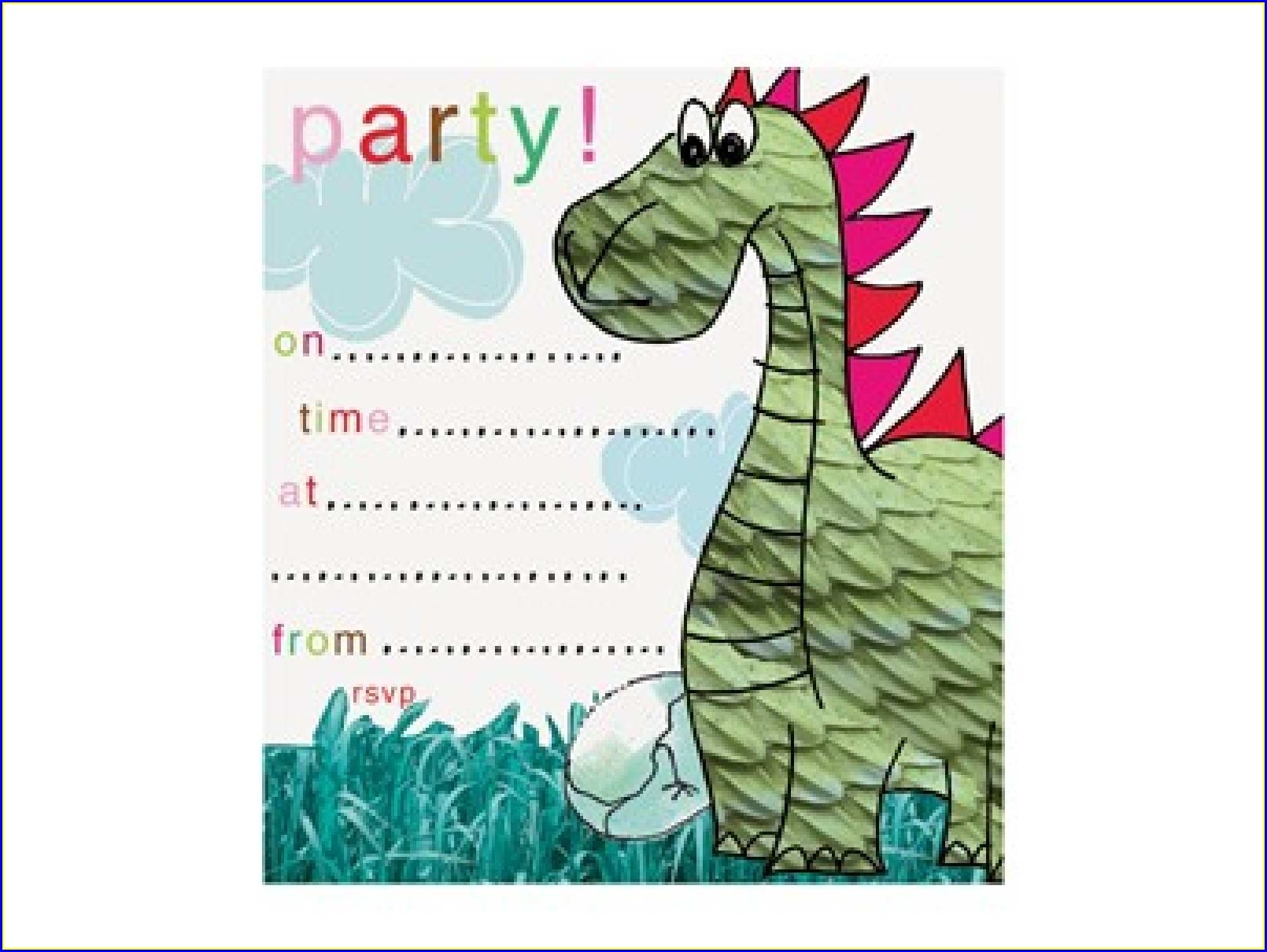 Blank Dinosaur Invitation Template