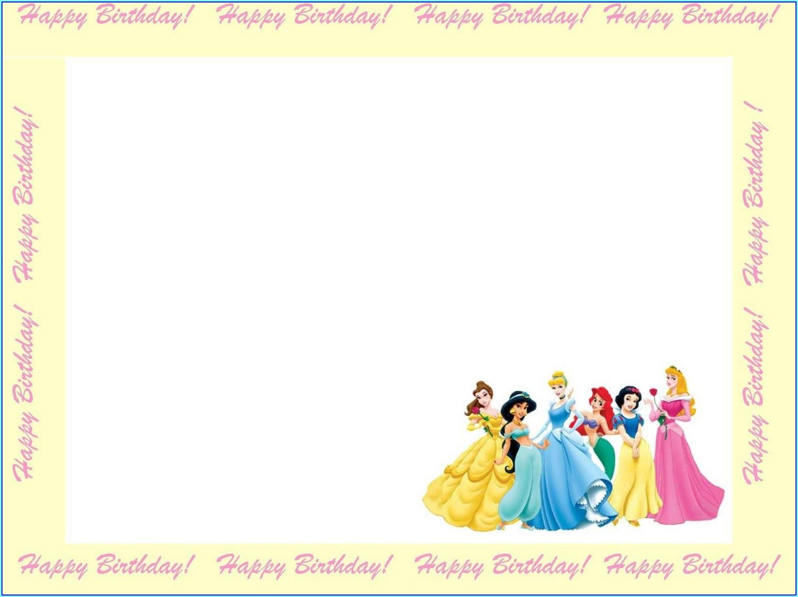 Blank Disney Princess Birthday Invitation Card