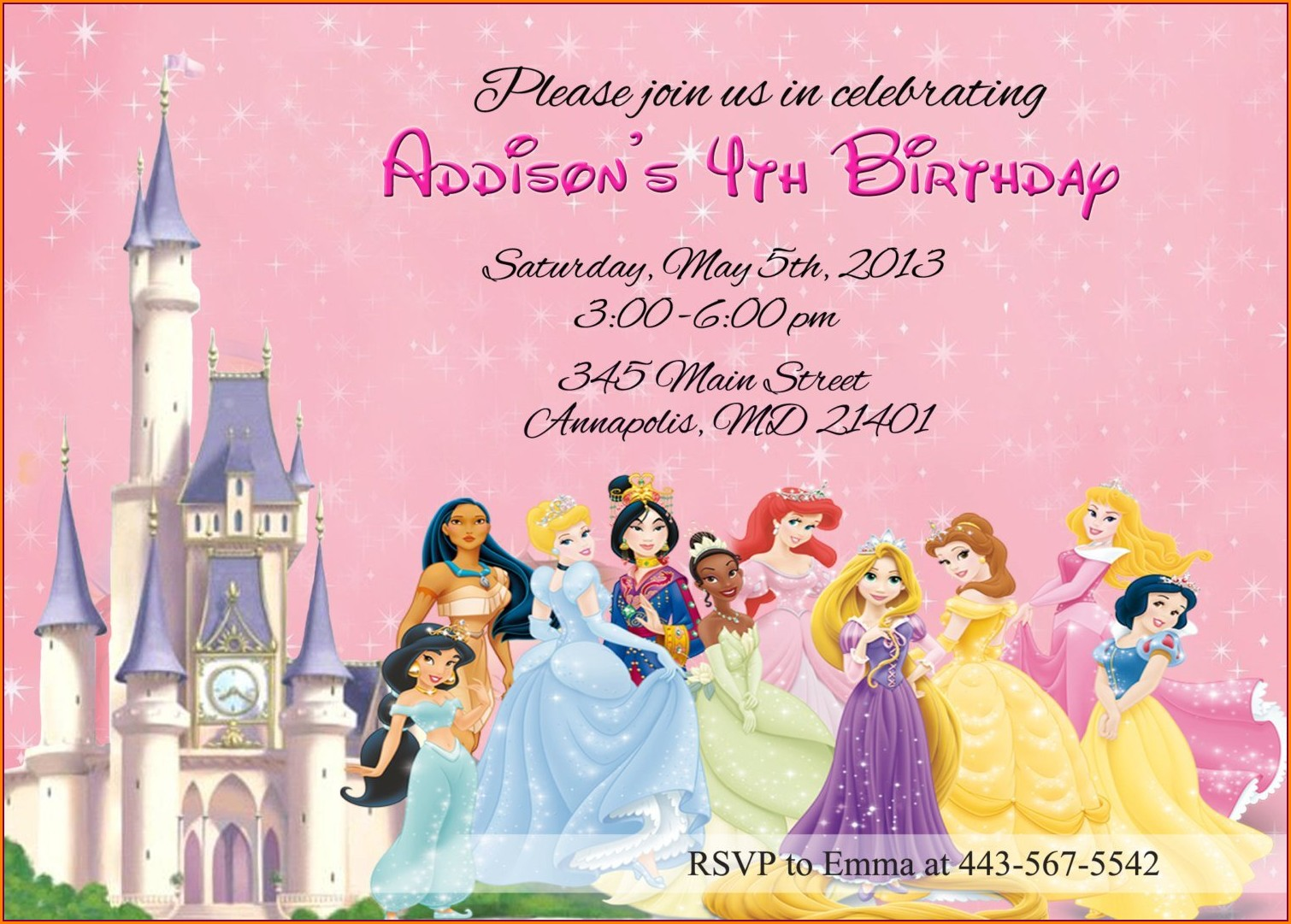 Blank Disney Princess Birthday Invitations