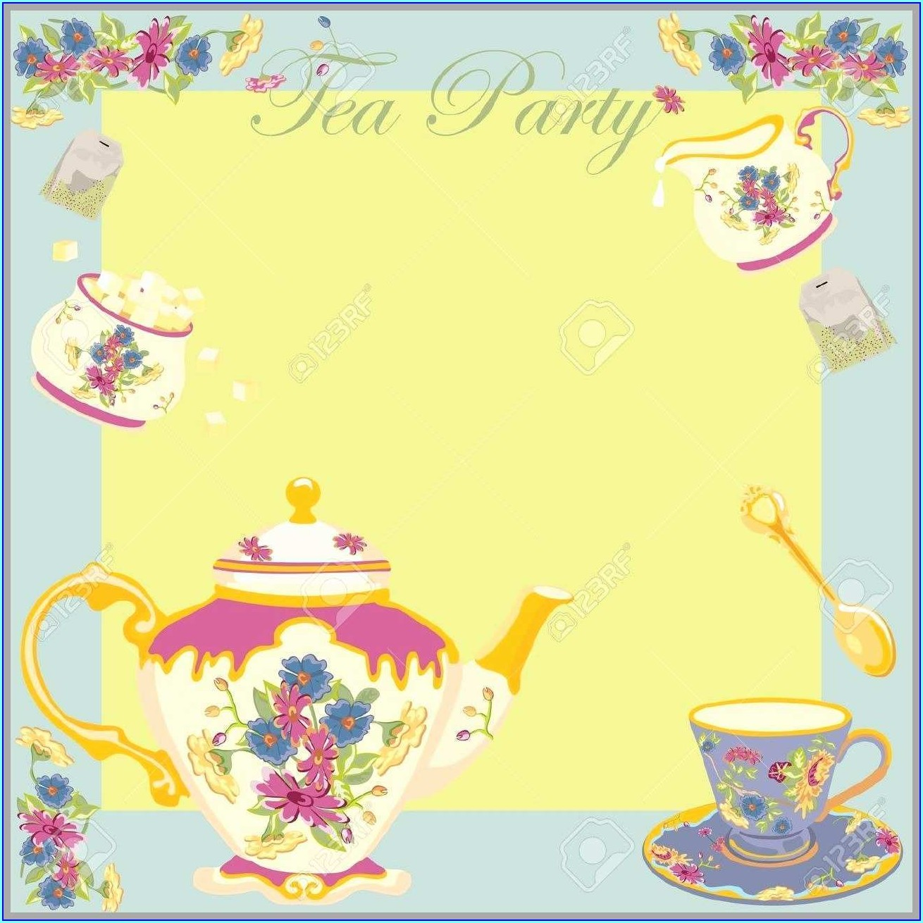 Blank Downloadable High Tea Invitation Template
