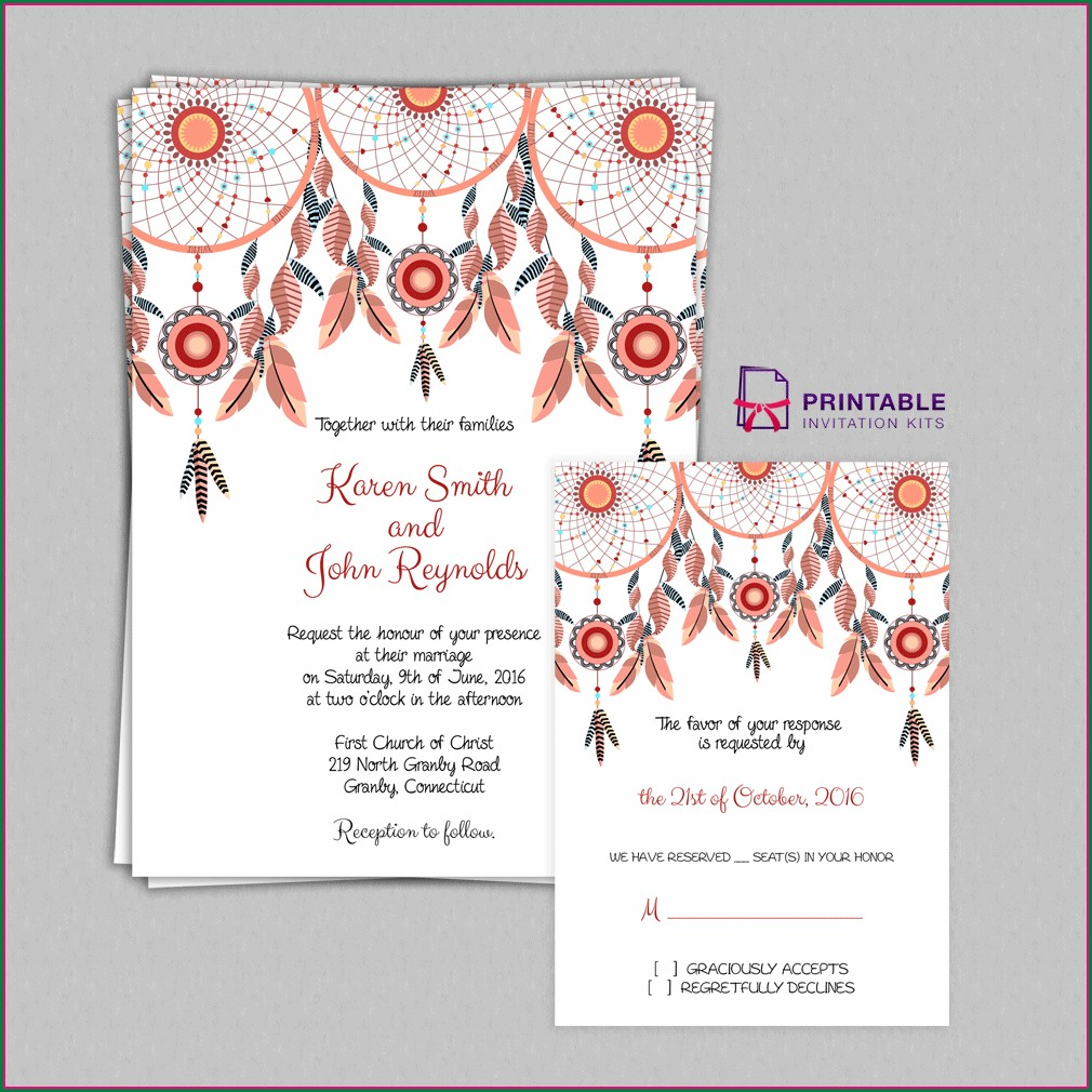 Blank Dream Catcher Invitation Template