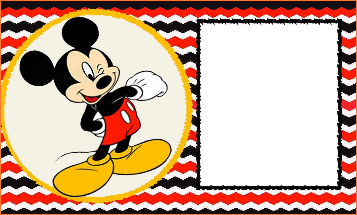 Blank Editable Blank Mickey Mouse Invitation Template