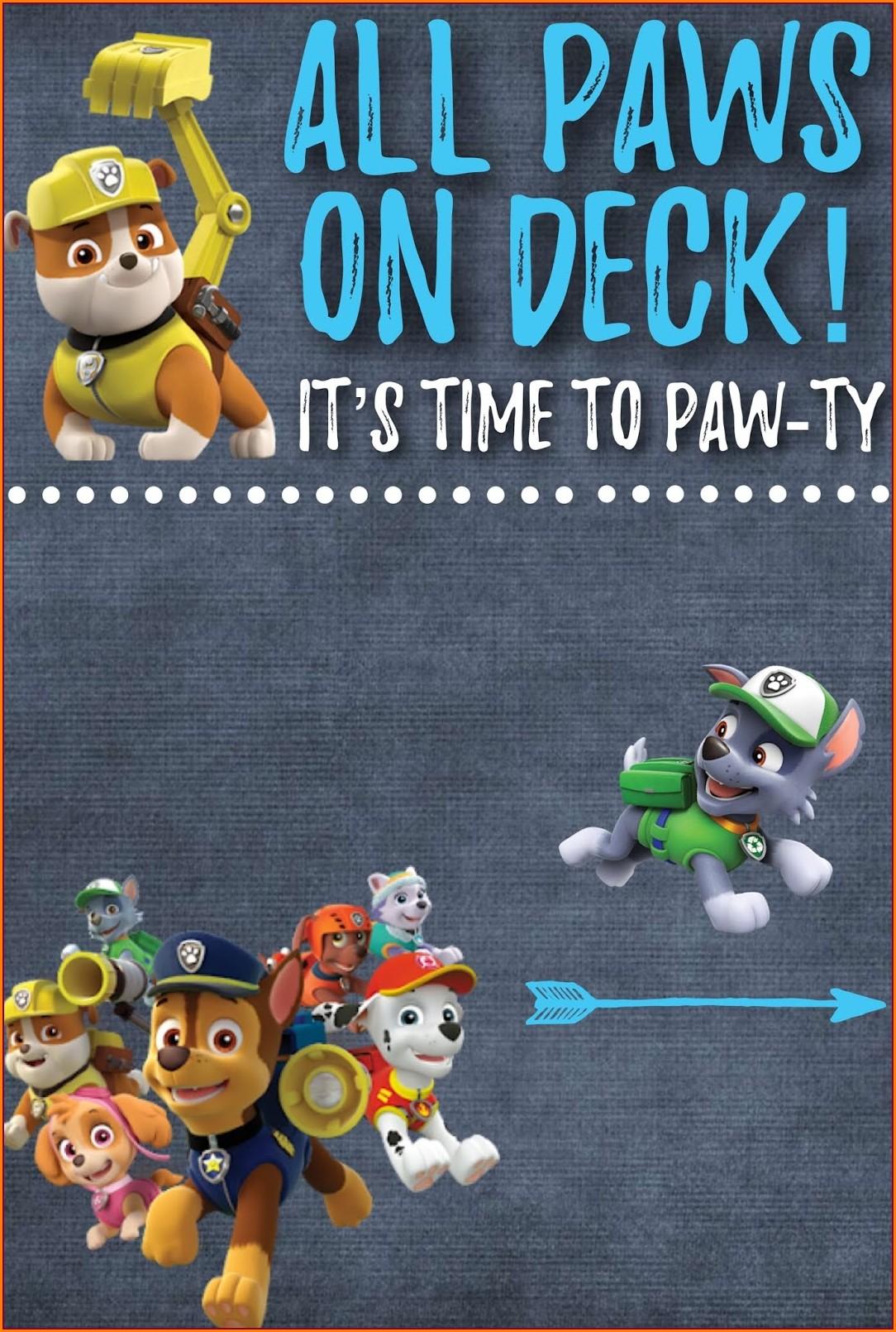 Blank Editable Paw Patrol Invitation Template