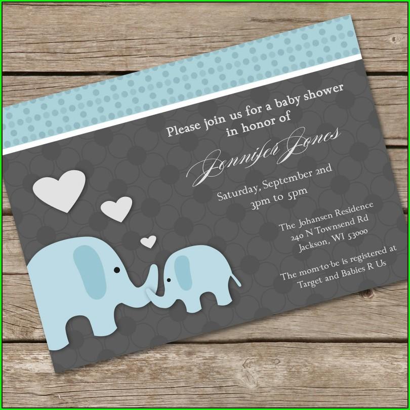 Blank Elephant Invitation Template