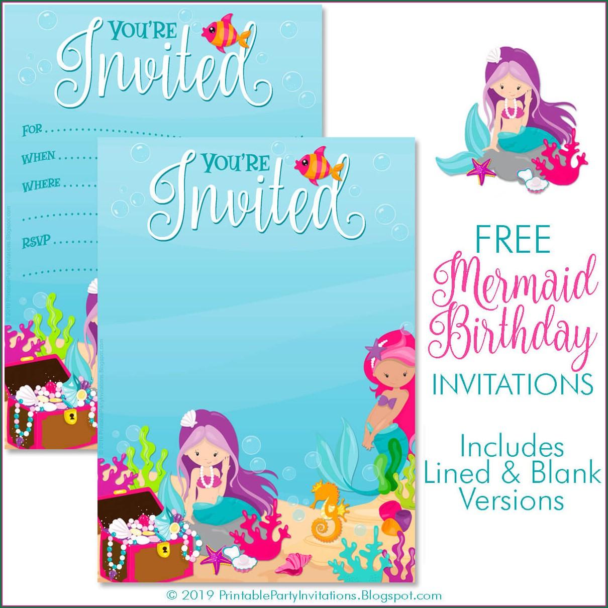 Blank Free Printable Mermaid Invitations