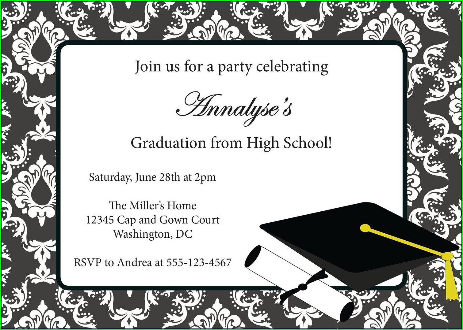 Blank Graduation Invitation Card Design