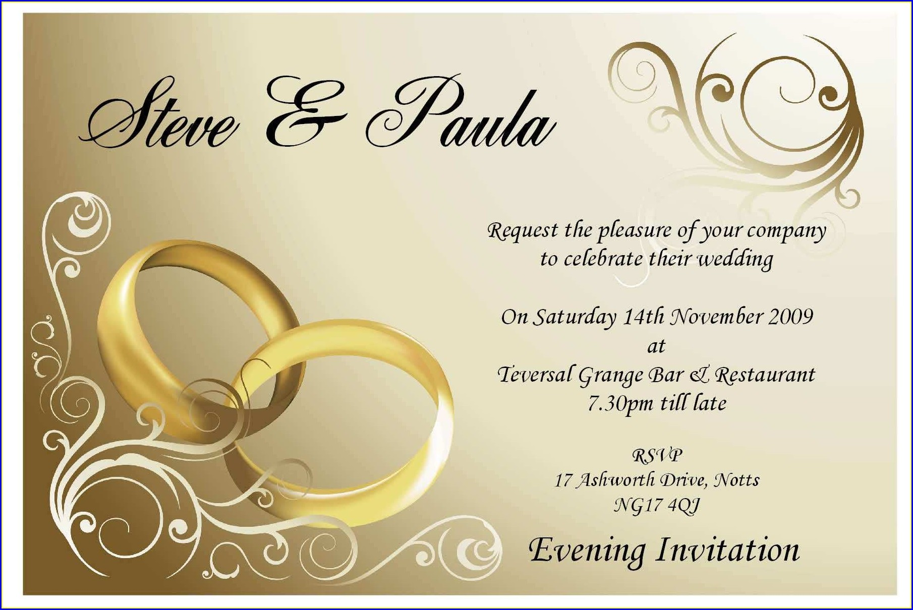 Blank Indian Wedding Invitation Card Template