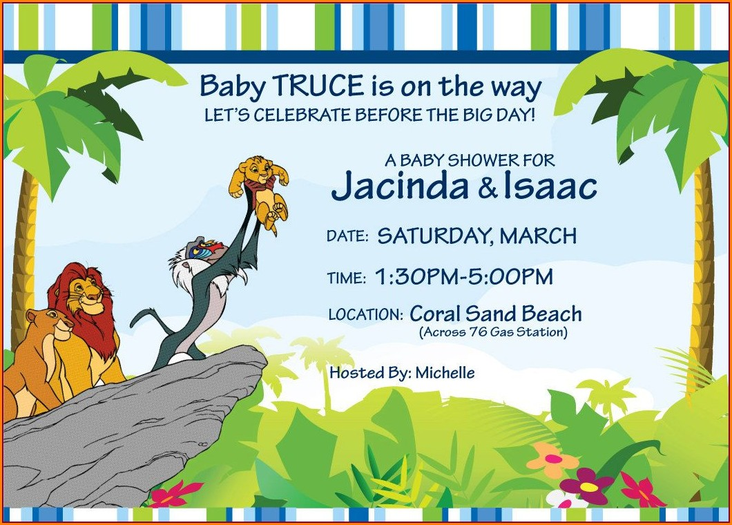 Blank Lion King Baby Shower Invitations
