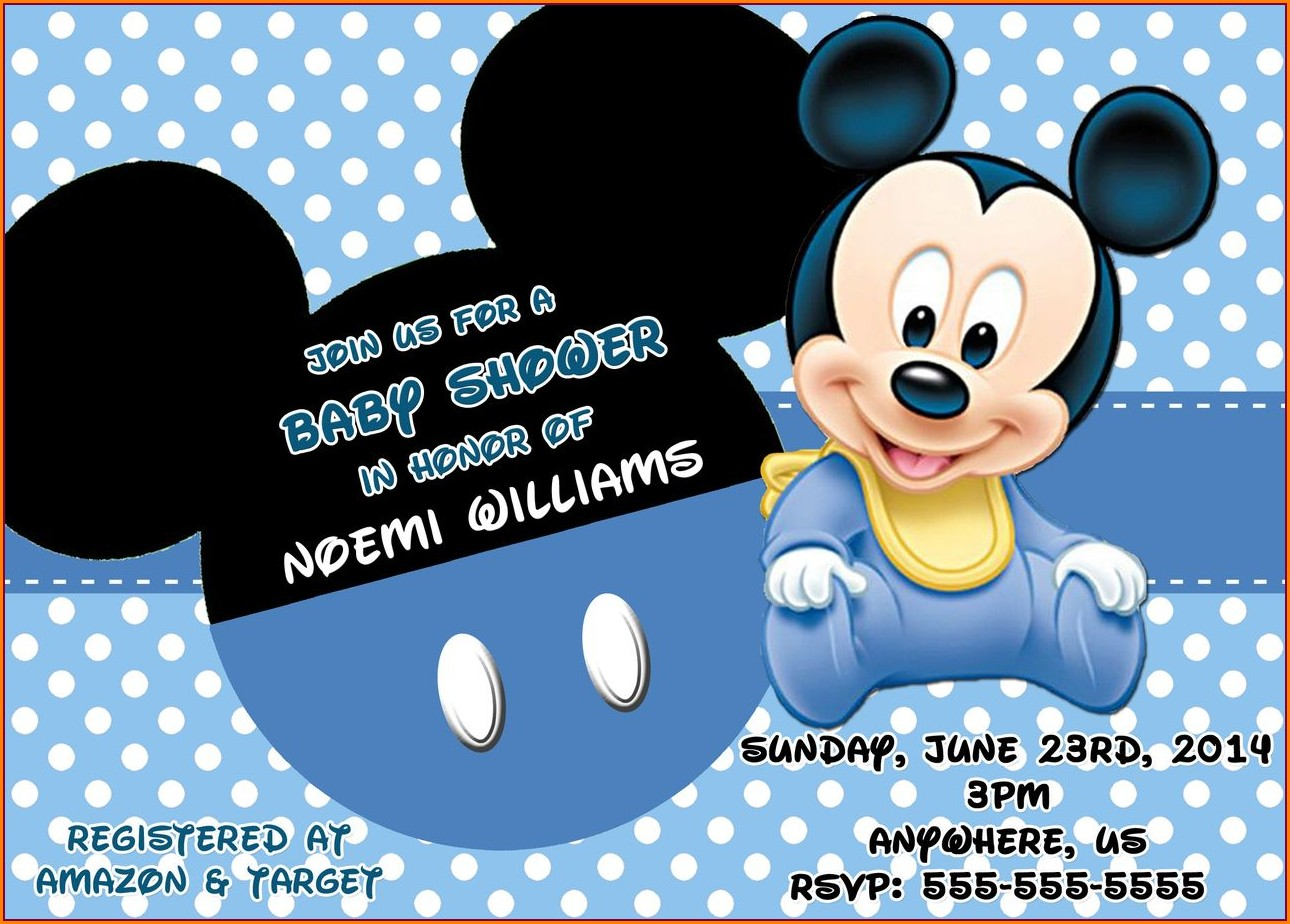 Blank Mickey Mouse Baby Shower Invitation Template Free